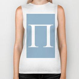 Greek letter Pi sign on placid blue background Biker Tank