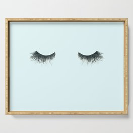 Dramatic dreaming in blue  \\ lashes, closed eyes, sleeping design for bedroom Serving Tray
