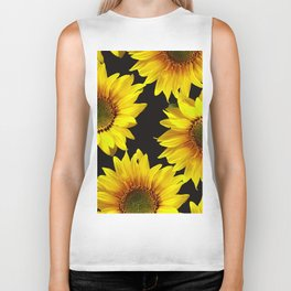 Large Sunflowers on a black background - #Society6 #buyart Biker Tank