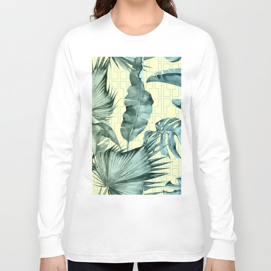 Simply Island Mod Palm Leaves on Pale Yellow Long Sleeve T-shirt
