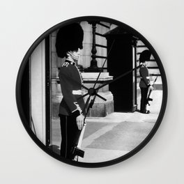 Retro UK  England London sentry at Buckingham palace 1970 Wall Clock