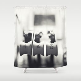 Thrust Levers in Black and White Shower Curtain