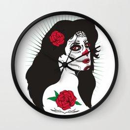 Rose and the Sugar Skull Wall Clock