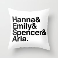 pretty little liars Throw Pillows featuring Pretty Little Liars by MLauxDesign