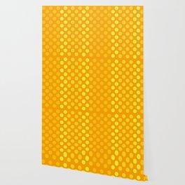 """Yellow & Ocher Burlap Texture & Polka Dots"" Wallpaper"