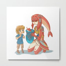 Link and the Little Zora Metal Print