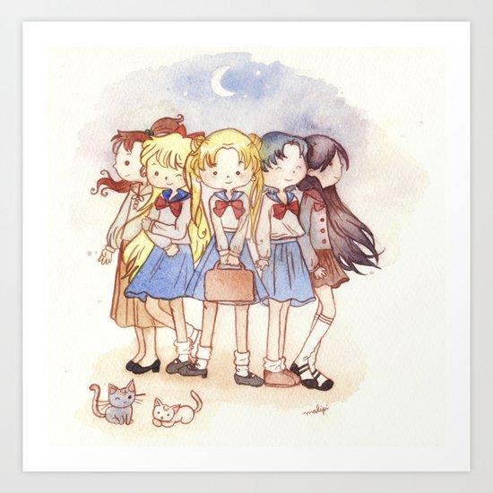 School Sailors Art Print