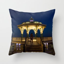 Brighton Bandstand at Night Throw Pillow