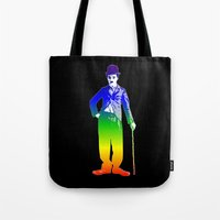 chaplin Tote Bags featuring Chaplin by PsychoBudgie