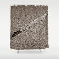pen Shower Curtains featuring Pen Nib by Rose Etiennette