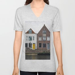 Row houses and Canal in The Netherlands Unisex V-Neck