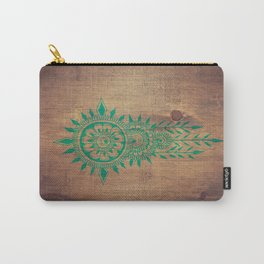 emerald green rustic mandala Carry-All Pouch