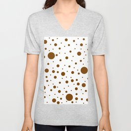 Mixed Polka Dots - Chocolate Brown on White Unisex V-Neck