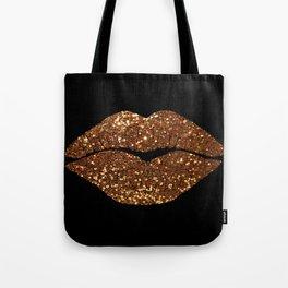 Rosegold Sparkle Kissing Lips Tote Bag