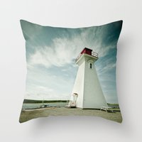 lighthouse Throw Pillows featuring lighthouse. by kimberlie ann photography