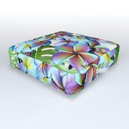 Rainbow Plumeria Pattern Outdoor Floor Cushion