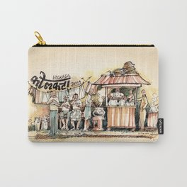 Kolkata India Sketch in Watercolor   City View   Street Food Stall   Calcutta West Bengal Carry-All Pouch