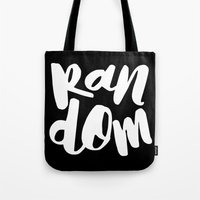 random Tote Bags featuring Random by Word Quirk