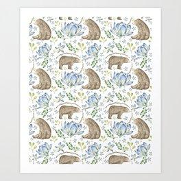 Bears in Blue Flowers Art Print