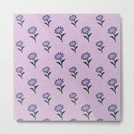 Floral Neck Gator Purple Texture Flower Pattern Metal Print