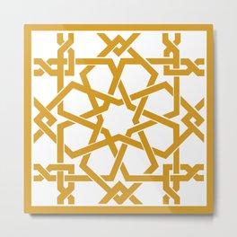 Yellow Islamic Geometric Art Metal Print