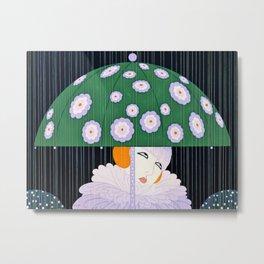 """""""Green Umbrella"""" Art Deco by Erté Metal Print"""