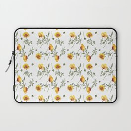 Yellow Poppy Pattern Laptop Sleeve