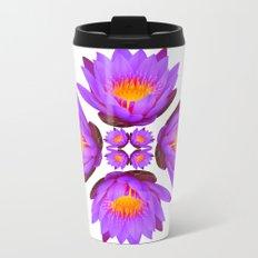 Purple Lily Flower - On White Metal Travel Mug