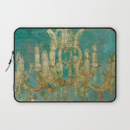 Gold and Peacock Chandelier Laptop Sleeve