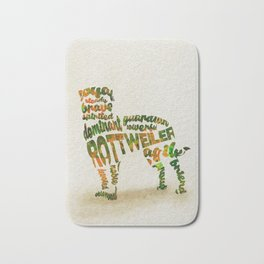 Rottweiler Dog Typography Art / Watercolor Painting Bath Mat