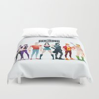 justice league Duvet Covers featuring the rocking league by Andres Moncayo
