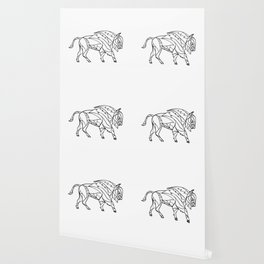 Bison Side Mosaic Black and White Wallpaper