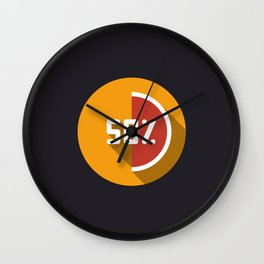 "Illustration ""percentage - 50%"" with long shadow in new modern flat design Wall Clock"