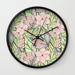 Delicate tropical floral pattern. Wall Clock