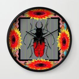 Red Beetle & Sunflowers Western Style Grey Abstract Wall Clock