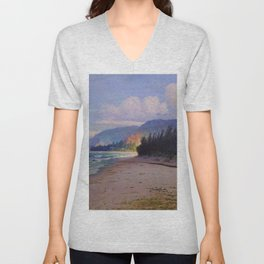 Rays of Sun on the Windward side of Oahu, Hawaiian landscape painting by D. Howard Hitchcock Unisex V-Neck