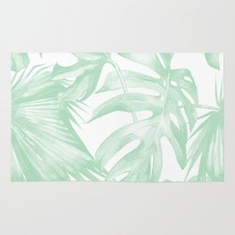 Light Green Tropical Palm Leaves Print Rug