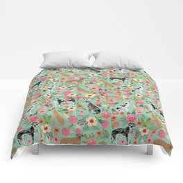 Great Dane floral dog breed pet friendly pet pattern great danes pure breed Comforters