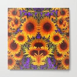 Sunflower Field Purple-Green Fantasy Metal Print