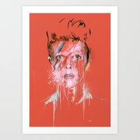 bowie Art Prints featuring Bowie by Marcello Castellani