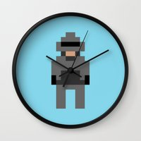robocop Wall Clocks featuring Robocop by Pixel Icons