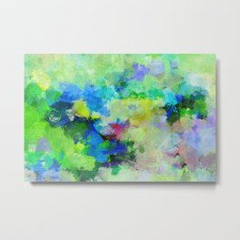 Original Green Abstract Painting on Canvas Metal Print