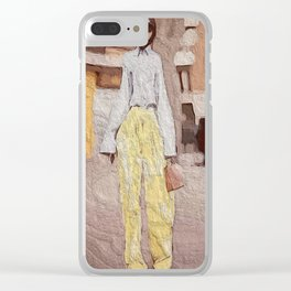 Mellow Yellow Pants Clear iPhone Case