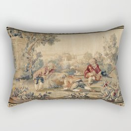 Aubusson  Antique French Tapestry Print Rectangular Pillow