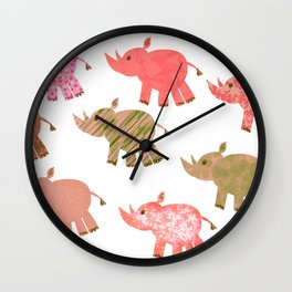 Playful multi-print patterned African Black Rhino Wall Clock