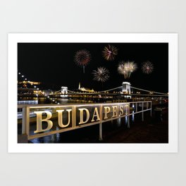 Chain bridge  with fireworks on Budapest city. Art Print