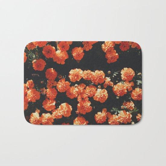 Orange flower fleurs Bath Mat