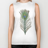 peacock feather Biker Tanks featuring Peacock Feather by Sophie Wedd