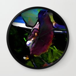 Purple Magpie on a Pink Porch Wall Clock