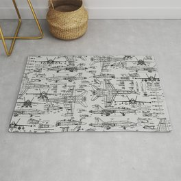 F-18 Blueprints // Light Grey Rug